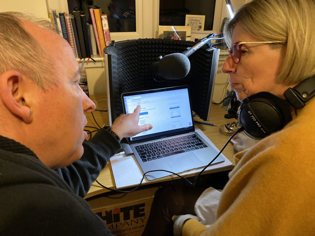Adrian from Unavoided teaching Marianne about podcast production.